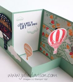 VIDEO: Lift Me Up Double Z Fold Card Tutorial: Floating Hot Air Balloons #stampinup www.juliedavison.com