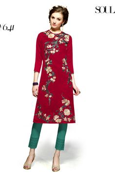 Designer party wear maroon black kurti with embroidery work 641