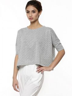 KOOVS Lurex Spot Slouch Crop Sweater