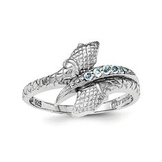 Amazon.com: Sterling Silver Rhodium-plated w/Blue Topaz Snake Ring: Clothing