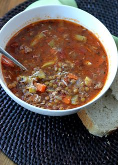 A friend made this (recipe from a magazine) and it was delicious, salty, be sure to use low sodium broth as shown: Sausage Lentil Soup