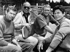 """Actors James Coburn, John Sturges, Steve McQueen and Charles Bronson on the set of the film """"The Great Escape"""" Charles Bronson, Hollywood Stars, Classic Hollywood, Old Hollywood, Hollywood Actresses, Sundance Kid, Jackie Gleason, Donald Sutherland, Fred Astaire"""