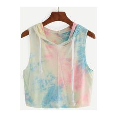 SheIn(sheinside) Multicolor Hooded Tie-dye Tank Top (415 DOP) ❤ liked on Polyvore featuring tops, multi color, summer tanks, tie dye tank tops, polyester camisole, stretch tank top and tie dye tops