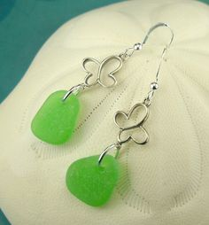Sea Glass Earrings In Kelly Green Sterling