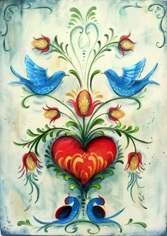 Folk Embroidery Tutorial Folk art painting on canvas --- The Vintage Folk Painter --- Folk Art, Decorative Painting, Tole Painting, Tole Painting, Painting & Drawing, Tole Decorative Paintings, Heart Painting, Diy Painting, Norwegian Rosemaling, Scandinavian Folk Art, Pintura Country, Folk Embroidery