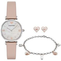 Emporio Armani Women's Gianni Nude Leather Strap Watch, Bracelet &... (78.865 HUF) ❤ liked on Polyvore featuring jewelry, watches, nude, nude jewelry, pave jewelry, watch gift set, glitter jewelry and emporio armani watches