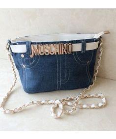 Moschino Cowboy Pants Women Fabric Satchel Blue