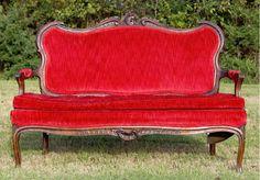 Red Settee #Wedding #Rental #WeddingRental #Vintage #Photography #Photoshoot #Houston #Spring #Tomball #Woodlands #Katy #Texas #SomethingGoodeVintageRentals #SomethingGoode