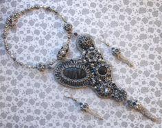 Luxury statement bib necklace earrings Bead embroidery swarovski jewelry Jasper jewelry set Black stone pendant Tassel necklace earrings