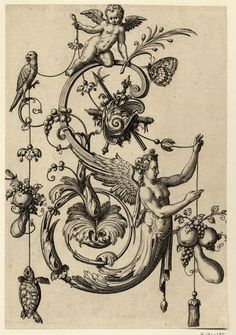 Johann Theodor de Bry (Print made by); letter of the alphabet with a winged female term (Salomon; Ornament Drawing, Esoteric Art, Images Vintage, Arte Obscura, Occult Art, Grisaille, Medieval Art, Illuminated Manuscript, Gravure