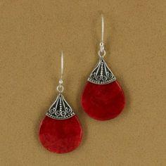 Sterling Silver Coral Resin Pear Dangle Earrings $42.50 #jewelry
