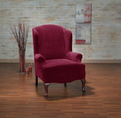 Hanover Plush One Piece Stretch Wing Back Slipcover - Overstock Shopping - Big Discounts on Recliner & Wing Chair Slipcovers Wingback Chair Slipcovers, Velvet Wingback Chair, Furniture Slipcovers, Furniture Covers, Chair Covers, Armchair, Apartment Furniture, Apartment Ideas, Wing Chair