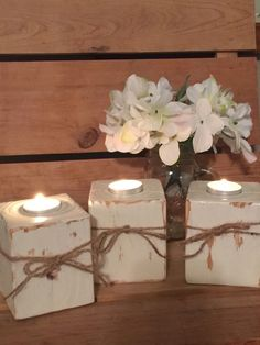 Handmade Home Decor Handmade wooden candle holders, Wood block candle holder, Shabby chic home decor… Rustic Candle Holders, Rustic Candles, Diy Candles, Tea Light Candles, Tea Lights, Wood Block Crafts, Wooden Crafts, Handmade Home Decor, Handmade Wooden