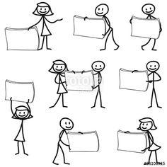 Vektor: Strichmännchen, Schilder, Plakate