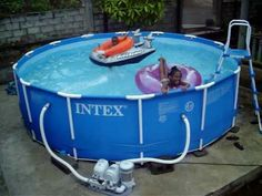 Kids having fun in intex swimming pool