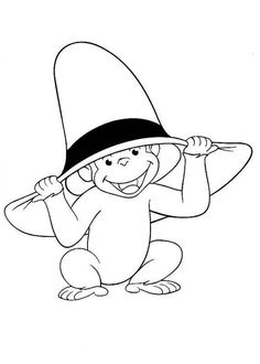 Curious George Wear Big Hat Coloring Page - NetArt Flag Coloring Pages, Disney Coloring Pages, Coloring Pages For Kids, Curious George Coloring Pages, Painting Workshop, Colorful Pictures, Cross Stitch, Graphic Design, Cartoon