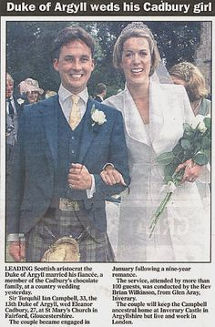 The Duke and Duchess of Argyll at Inveraray Castle on their wedding day