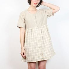 Vintage 90s Dress Tan White Yellow Plaid Mini Dress 1990s Dress Babydoll Dress Soft Grunge Dress Daisy Floral Button Tshirt Dress S M Medium