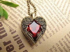 SALE -the red heart locket necklace jewelry on Etsy, $2.00