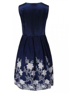 Retro Women Floral Printed Sleeveless V Neck A-line Dress