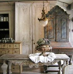 Distressed dining table, armoire, buffet, door