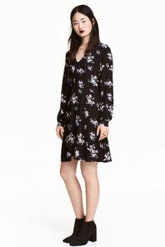 Vestido estampado - Preto/Floral - SENHORA   H&M PT 1