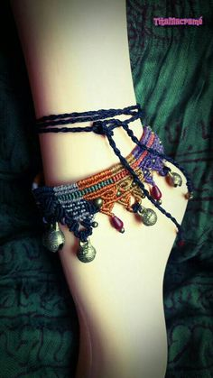 Hand knotted macramé anklet made in Borneo, inspired by the tribes. Adjustable size by wrapping around the ankle