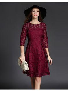 Burgundy Long Sleeve Midi Dress