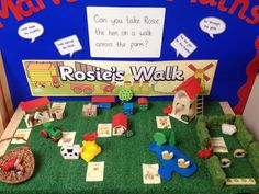 Interactive maths display: positional language - picture only Numeracy Activities, Language Activities, Book Activities, Nursery Activities, Early Years Maths, Early Years Classroom, Rosies Walk, Positional Language, Maths Display
