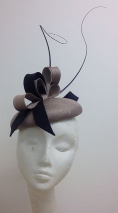 Statement oyster and navy combo. Edwina Ibbotson Millinery