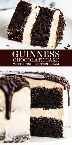 Guinness Chocolate Cake with Irish Buttercream features an easy, fudgy, and moist cocoa cake with Guinness beer and thick creamy, sweet Irish cream buttercream. The perfect homemade, from-scratch Father's Day or a birthday dessert recipe!