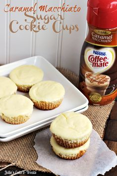 Caramel Macchiato Cheesecake Sugar Cookie Cups ~ Soft Sugar Cookie topped with Carmel Macchiato Cheesecake!