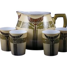 """William Guerin (WG & Co.) Limoges Mission/Arts & Crafts Cider/Lemonade Pitcher & Cups Set (Signed """"Euliah Biggs""""/Dated Craft Cider, Art Nouveau, Art Deco, Craftsman Style Homes, Autumn Decorating, Arts And Crafts Movement, Cupping Set, Pottery Art, Lemonade"""