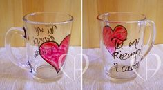 Glass cup with hand painted