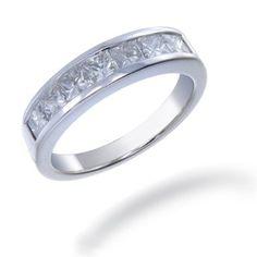 1.50 CT Princess Cut Diamond Wedding Band 14K White Gold (I1-I2 Clarity) (Available In Sizes 5 - 10)