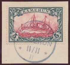 """German Colonies, DP-Kamerun 1900, 5 Mk. mit klarem Stempel """"EBOLOWA/11.11.11"""", auf Luxus-Briefstück (Bfst., Mi.-Nr.19, Mi.EUR 600,-- +). Price Estimate (8/2016): 200 EUR."""