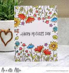 My Clever Creations: Mother's Day. Mom Cards, Bday Cards, Mothers Day Cards, Birthday Card Drawing, Happy Mother's Day Card, Envelope Art, Flower Doodles, Watercolor Cards, Flower Cards