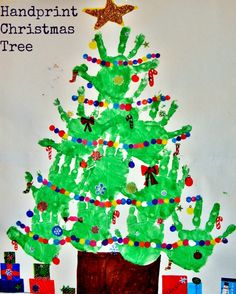 Making Christmas Tree Handprints - Bloggy Moms