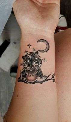Ravishing Small Black & Grey Owl Tattoo