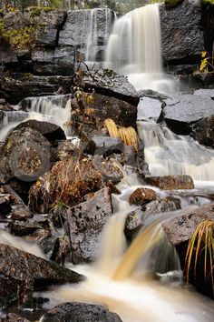 Dalsjöfallet i Skuleskogen | Fotograf: Peter Turander/Azote Native Country, Lappland, Photography Editing, Waterfalls, Beautiful Places, World, Nature, Travel, Outdoor