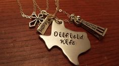"""Hand stamped personalized Texas (could use another state) necklace oilfield. """"Oilfield Wife""""-Oilfield gift-Texas oilfield-Oilfield life by ByalittlebitofFaith on Etsy"""