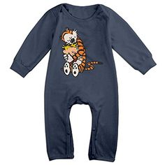 PCY Newborn Babys Boys  Girls Calvin And Hobbes Hug Long Sleeve Jumpsuit Outfits For 624 Months Navy Size 6 M -- More info could be found at the image url.