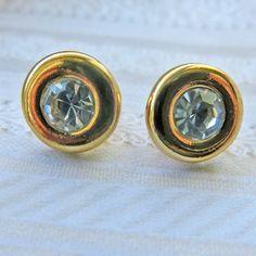 vintage jewelry vintage KJL earrings round crystal earrings