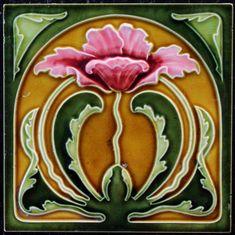 TBA - Meißner Ofen,- und Porzellanfabrik, Meißen Tile(s) - with floral design - Catawiki Azulejos Art Nouveau, Art Nouveau Tiles, Art Nouveau Design, Antique Tiles, Antique Art, Vintage Art, Antique Pottery, Motif Floral, Floral Design