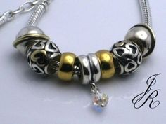 STORE LIQUIDATION due to move back to Europe - Designer Beads & Jewelry up to 50% OFF - Limited Stock! - TWO TONE HEART  - Authentic European Charm Bead Necklace by CARLO BIAGI -  JEWELS by REGINA - http://europeartimport.com/bibrowncr.html