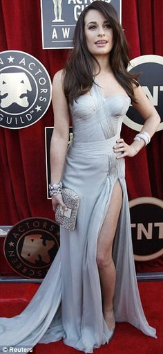 lea michele at the sag awards. the slit is too high for my taste, but it's still a gorgeous dress.