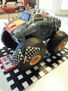 maximum destruction, monster jam birthday cake for my son's 5th birthday max-d