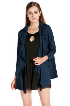 Women Plus Size Outwears Casual Long Sleeve Turn Collar Loose Trench Jacket Cardigan Pockets_Jackets & Coats_TOPS_CLOTHING_The Latest Trends & Fashion Clothing For Women Online Store-www.dressin.com