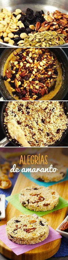 Alegrías de amaranto mexicanas fáciles de hacer en casa. Este dulce de amaranto con semillas y frutos secos es un postre saludable y ligero que podrás comer en #cuaresma o #pascua #comersaludable #postressaludables