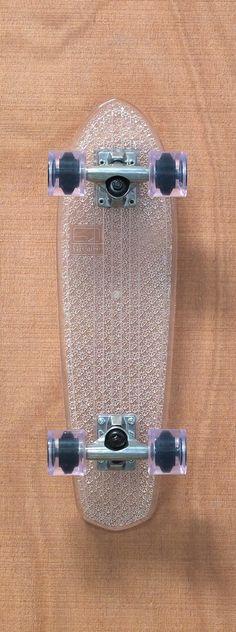 """Globe 24"""" Bantam Clears Clear / Clear Skateboard Complete $110.00"""